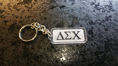 Delta Sigma Chi - Traditional Clear Acrylic Keychain with Letters