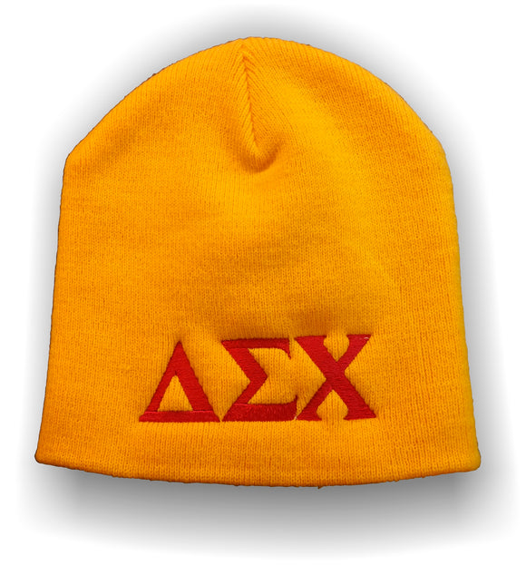Delta Sigma Chi - Gold Beanie with Red Embroidery