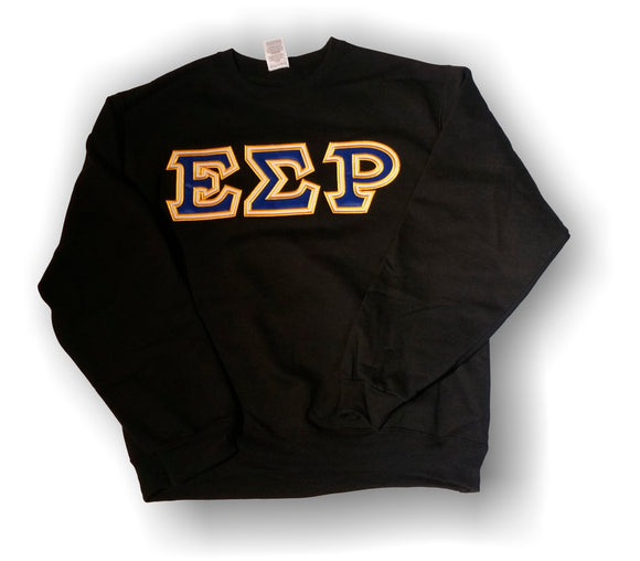 Epsilon Sigma Rho - Black 9.5oz Crew Neck Sweatshirt with Blue on White Twill