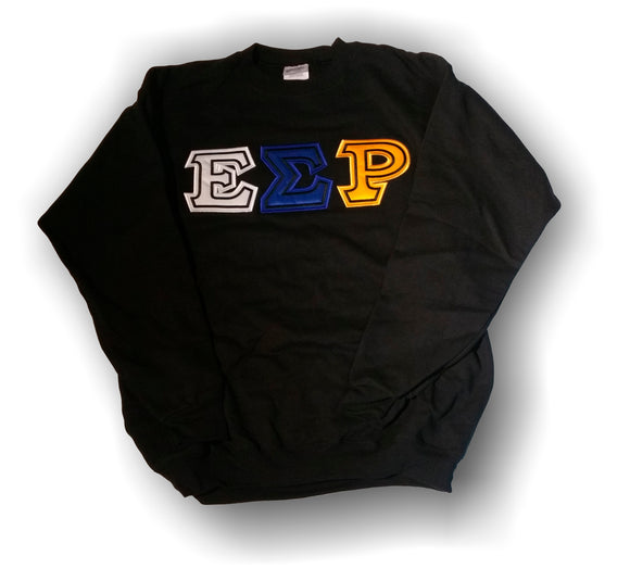 Epsilon Sigma Rho - Crew Neck Sweatshirt with White, Blue  and Gold Letters