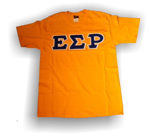 Epsilon Sigma Rho - Gold T-Shirt with Royal Blue on White Tackle Twill