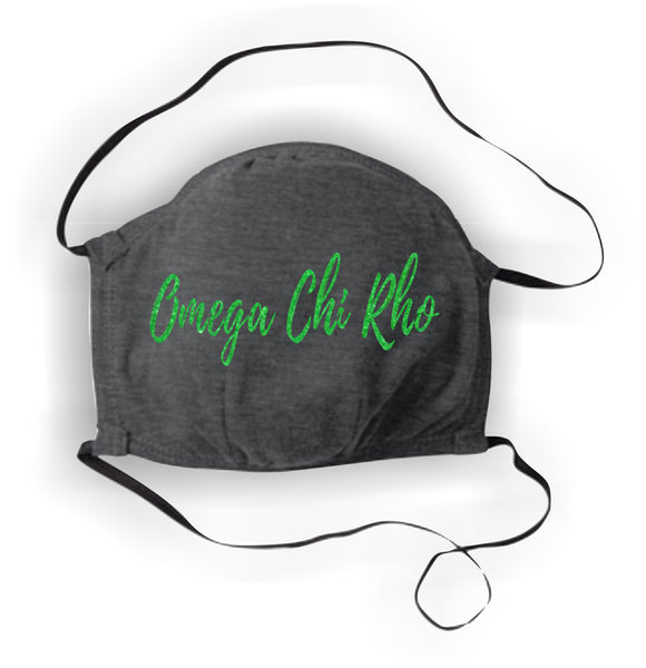 Omega Chi Rho-Face Covering, Black with Neon Green Glitter-WCR-ALLMASK50-BLK-NEONGRN