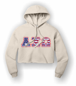 Alpha Chi Omega - BC7502 BELLA+CANVAS ® Women's Sponge Fleece Cropped Fleece Hoodie