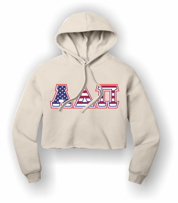 Alpha Delta Pi - BC7502 BELLA+CANVAS ® Women's Sponge Fleece Cropped Fleece Hoodie
