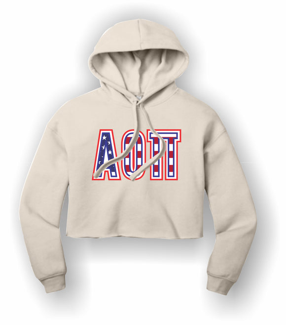 Alpha Omicron Pi - BC7502 BELLA+CANVAS ® Women's Sponge Fleece Cropped Fleece Hoodie