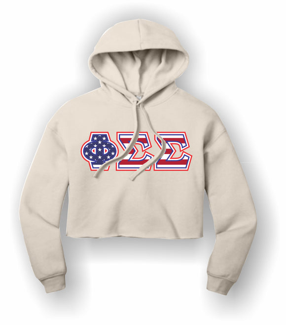 Phi Sigma Sigma - BC7502 BELLA+CANVAS ® Women's Sponge Fleece Cropped Fleece Hoodie