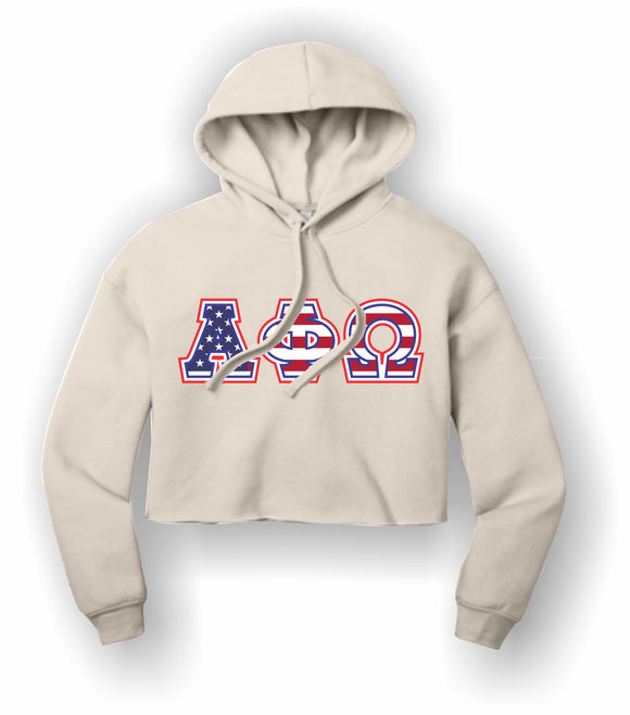 Alpha Phi Omega - BC7502 BELLA+CANVAS ® Women's Sponge Fleece Cropped Fleece Hoodie