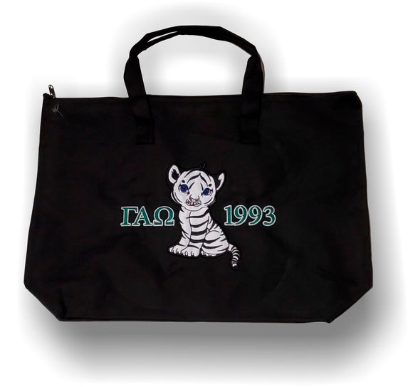 Gamma Alpha Omega - Tote Bag with White Bengal Cub Tiger - Letters and Year