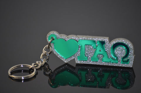 Gamma Alpha Omega - Key Chain with Mirror Letters