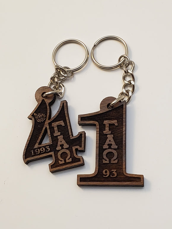 Gamma Alpha Omega - Wood Number Keychain