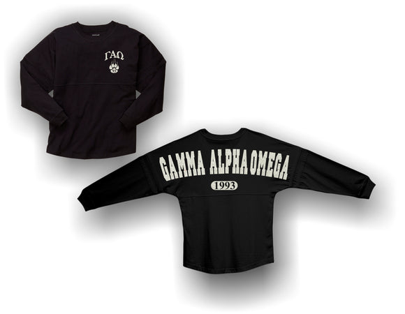 Gamma Alpha Omega - Pom Pom Long Sleeve Jersey with Glitter Design