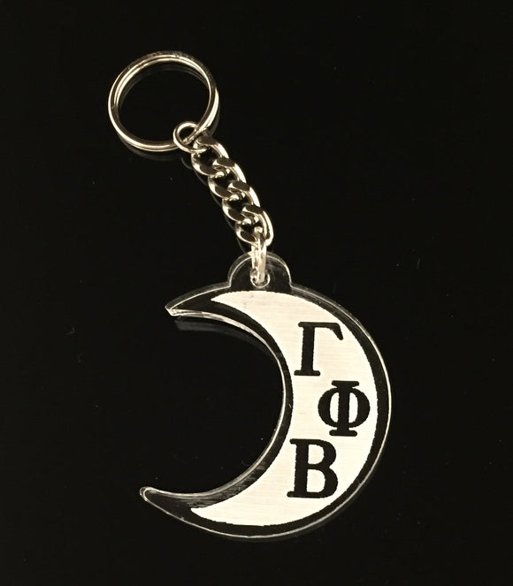 Gamma Phi Beta - Etched Acrylic Crescent Moon Keychain