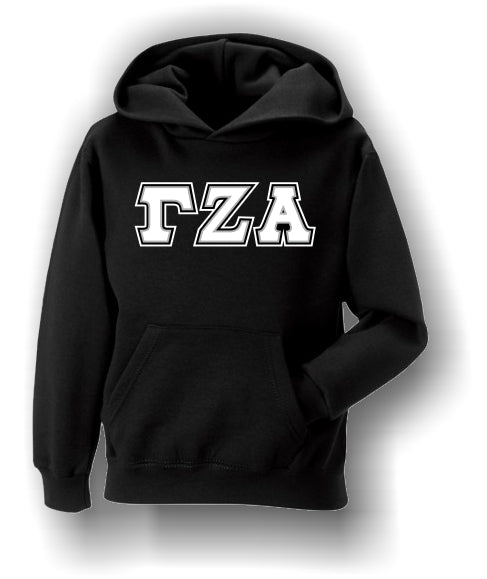 Gamma Zeta Alpha - Satin Stitched Black Hoodie with White Letters on Black Background