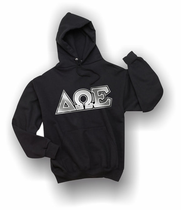 Delta Omega Epsilon-Hooded Sweatshirt, Embroidered (Double Stitched)-4997M JERZEES® SUPER SWEATS®