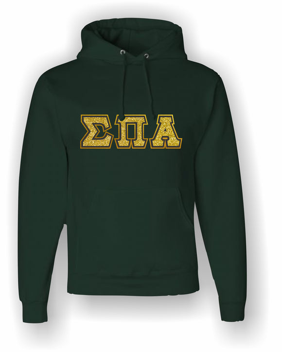 Sigma Pi Alpha – Hooded Sweatshirt, Embroidered, Gold Glitter on Black with Metallic Gold Stitching (Double Stitched)–4662M JERZEES® SUPER SWEATS®