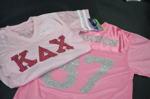 Kappa Delta Chi - Football Jersey with Glitter Letters