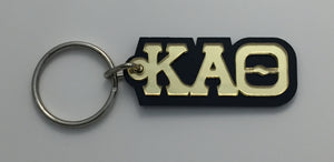 Kappa Alpha Theta - Acrylic Keychain with Gold Mirror Letters on Black