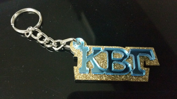 Kappa Beta Gamma - Blue Mirror on Gold Glitter Keychain
