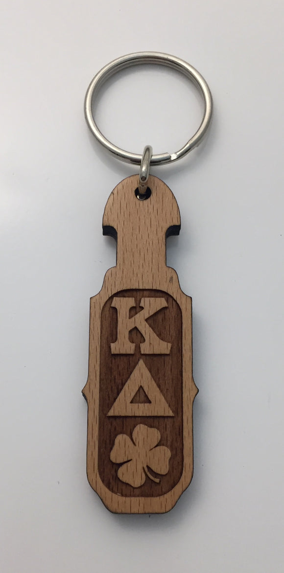 Kappa Delta - Wood Keychain with Letters and Shamrock