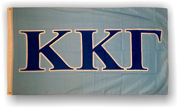 Kappa Kappa Gamma - 3'x5' Polyester Flag with Blue Letters on Light Blue