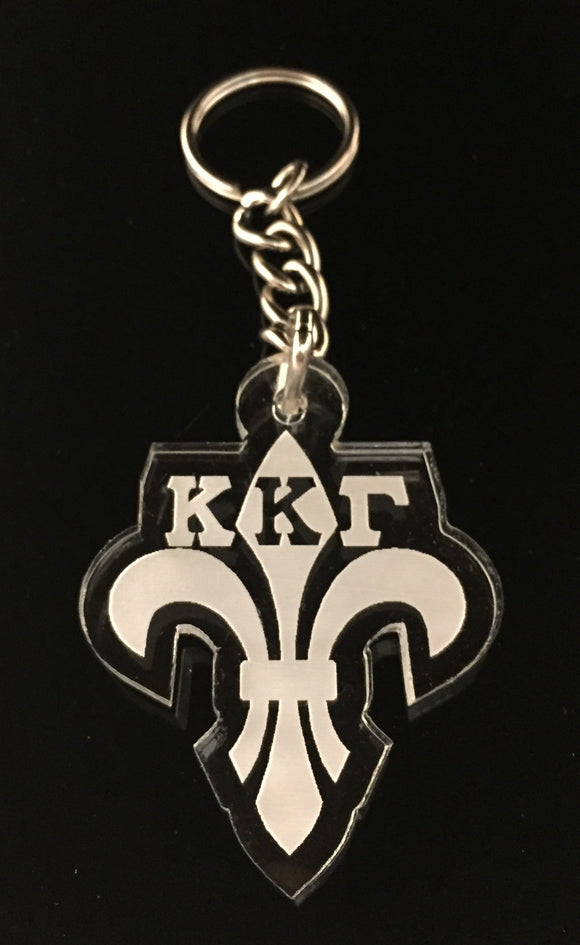 Kappa Kappa Gamma - Fleur De Lis Etched Acrylic Keychain with Letters