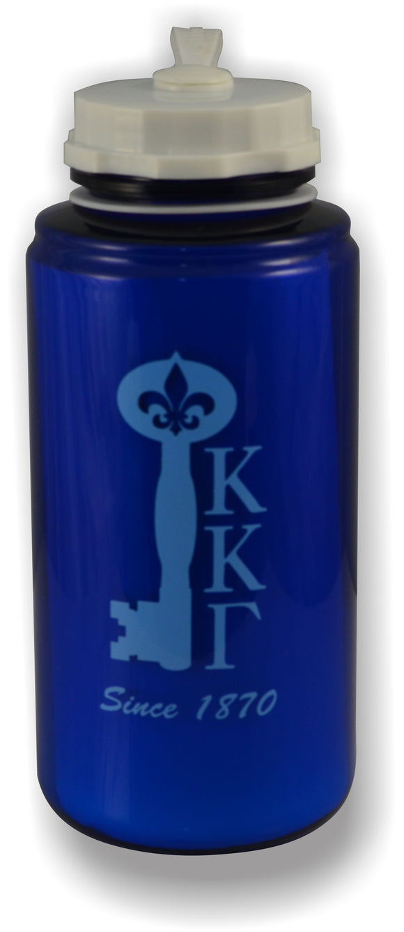 Kappa Kappa Gamma - 32oz. Royal Blue Water Bottle With Key and Letters