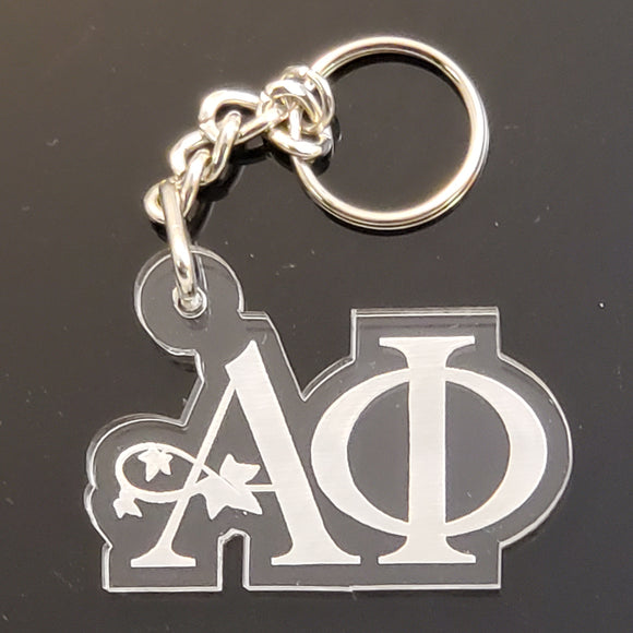 Alpha Phi - Keychain, Lily Letters, Acrylic Etched; AF-02-KEY-CUT-LTR