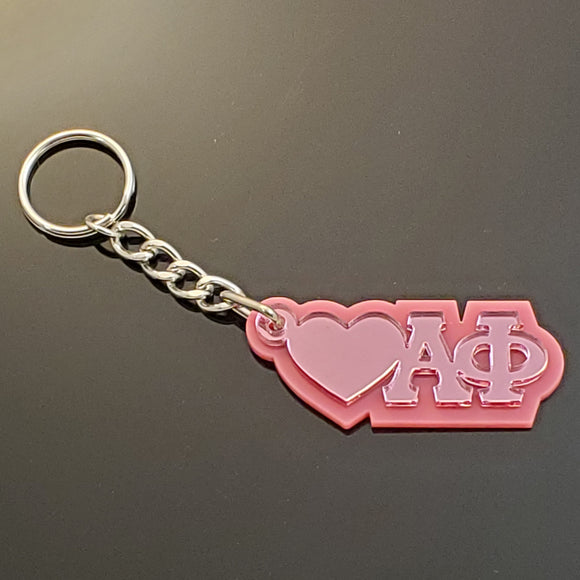 Alpha Phi - Keychain, 03-Acrylic - Pink Mirror Letters on Shiny Pink Acrylic-AF-03-KEY-PNKMIR-PNKACR
