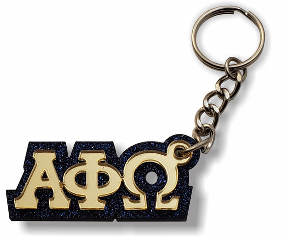 Alpha Phi Omega - Keychain, 03-Acrylic - Gold Mirror Letters on Sparkling Navy Blue Glitter