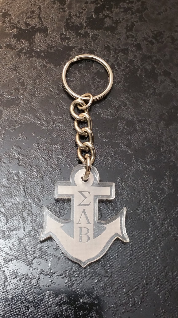 Sigma Lambda Beta - Keychain, Anchor, Acrylic Etched; SLB-02-KEY-CUT-ANCHOR