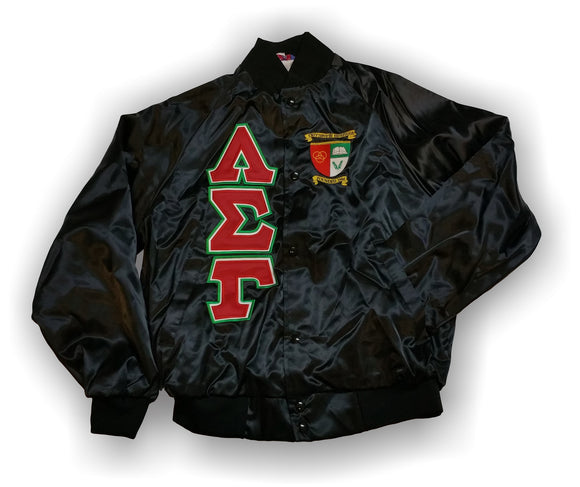 Lambda Sigma Gamma - Baseball Jacket with Double Stitched Letters and Crest