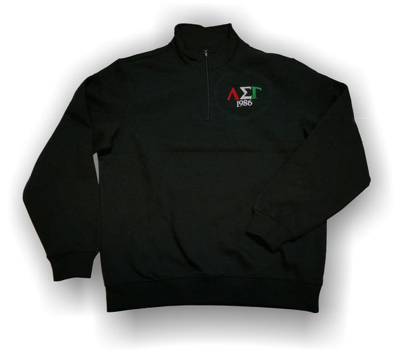 Lambda Sigma Gamma - Quarter Zipper Fleece Pullover with Tricolor letters and Year