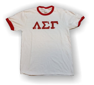 Lambda Sigma Gamma - PC54R - Ringer T-Shirt with Red Glitter