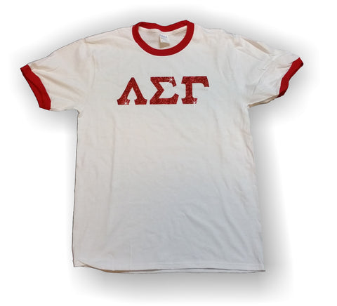 Lambda Sigma Gamma - Ringer T-Shirt with Red Glitter