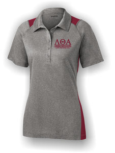 Lambda Theta Alpha - LST665 - Burgundy and Vintage Heather Polo