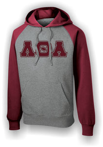 Lambda Theta Alpha - ST267 Raglan Burgundy and Vintage Heather Hoodie