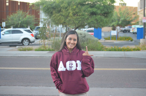 Lambda Theta Nu - Burgundy Hoodie with Silver Letters - Double Stitched