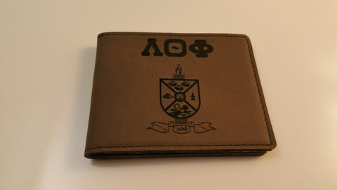 Lambda Theta Phi - Leatherette Wallet with Crest and Letters