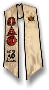 Omega Delta Phi - Graduation Stole with Red, Grey and Black Letters and Crest