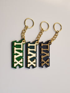 Pi Lambda Chi - Acrylic Keychains with Letters on the Front and Background