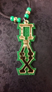Pi Lambda Chi - Gold Mirror on Green Glitter Tiki