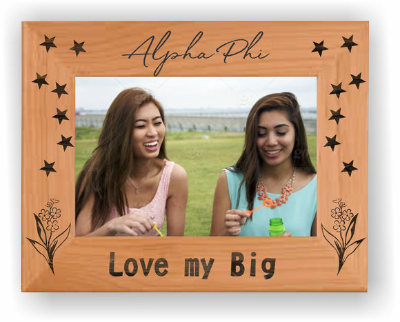 Alpha Phi – Picture Frame, Big Sis-Lil Sis, 4X6, Genuine Red Alder, PTF146
