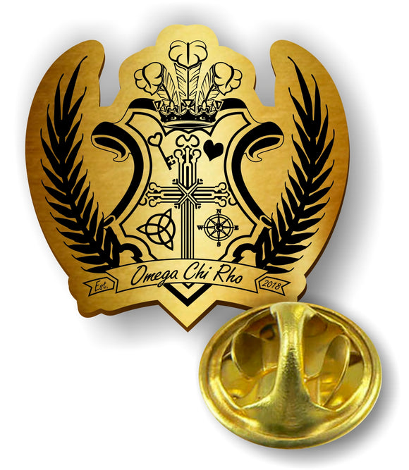 Omega Chi Rho-Pin-Die Cut-Crest -WCR-PIN-CREST-GOLD