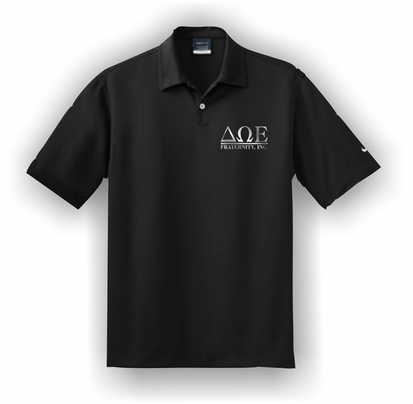 Delta Omega Epsilon–Polo, Embroidered-Nike Dri-FIT Pebble Texture Polo–DWE-NIKE-373749-BLK