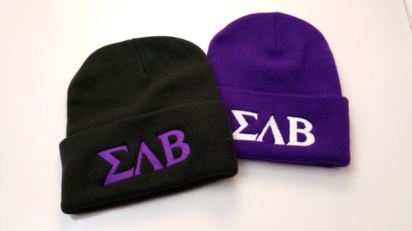 Sigma Lambda Beta - Fold Beanie with Greek Letters