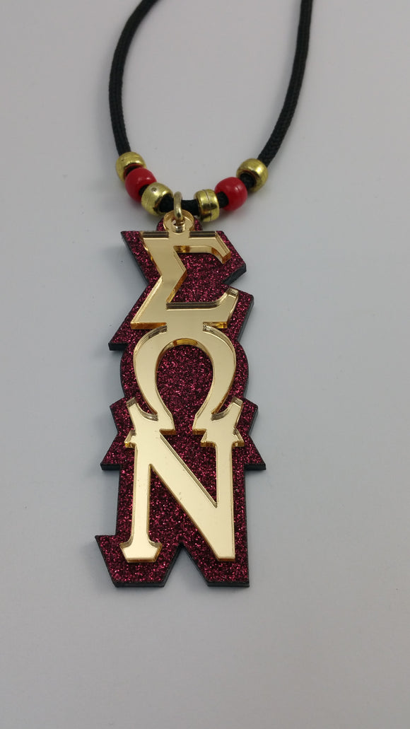 Sigma Omega Nu - Tiki - Gold Mirror on Black or Maroon Glitter