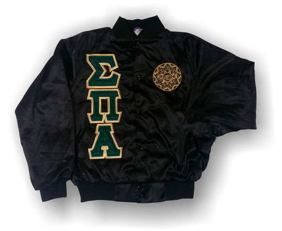 Sigma Pi Alpha - Black Satin Baseball Jacket with Dark Green and Shimmering Gold Letters
