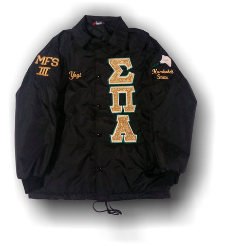 Sigma Pi Alpha - Line Jacket with Gold on White and Drk Green Letters - HUGE Shield