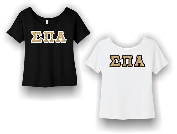 Sigma Pi Alpha - BC8816 BELLA+CANVAS ® Women's Slouchy Tee with Shimmering Gold Letters