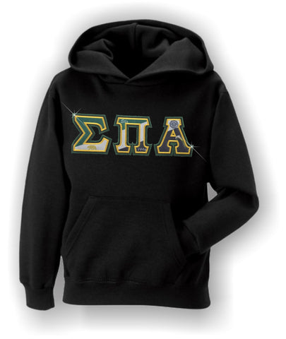 Sigma Pi Alpha - Flag Letters with Metallic Gold and Green Stitching
